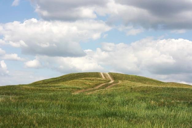 Paisagem de campo de grama verde com estrada, nuvens e céu azul