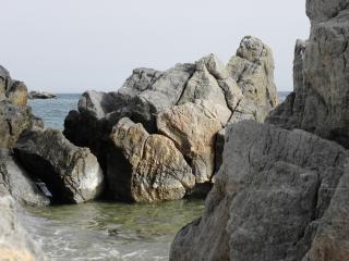 Paisagem de cliffsof aegean coast