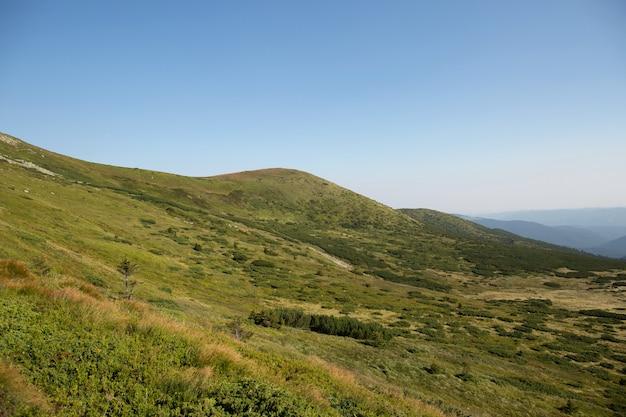 Paisagem de colinas verdes nas montanhas de verão. conceito de viagens