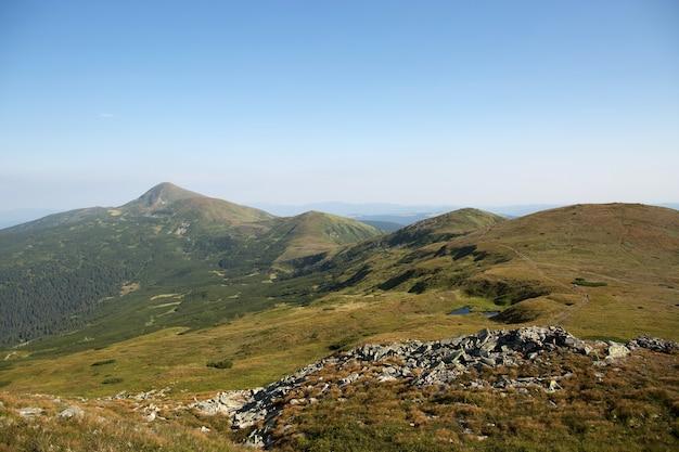 Paisagem de colinas verdes nas montanhas de verão