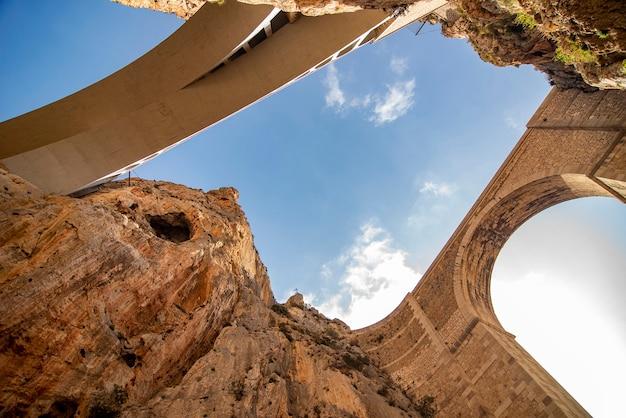 Paisagem de duas pontes de pedra e concreto com vista para o céu, com nuvens.