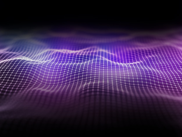 Paisagem de estrutura de arame 3d com linhas e pontos de conexão