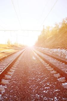 Paisagem de ferrovia de inverno