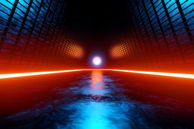 Paisagem de ficção científica com arquitetura alienígena
