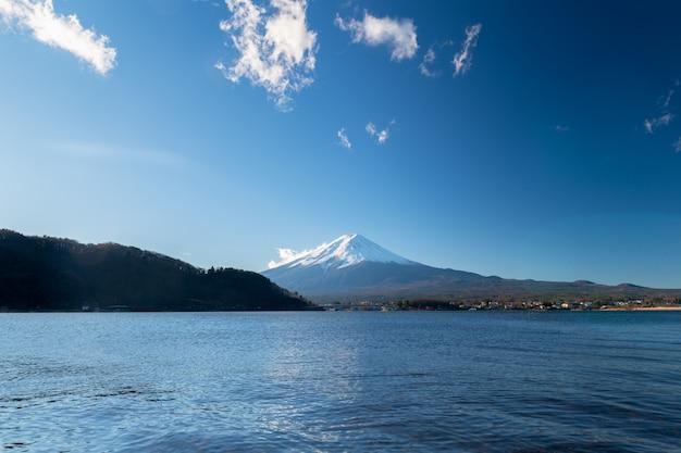 Paisagem, de, fuji, montanha, em, lago, kawaguchiko, japão