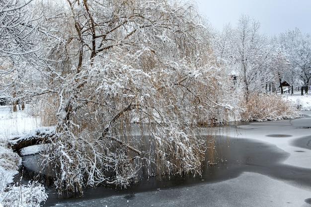Paisagem de inverno branco com neve fresca no lago congelado e árvores na beira do lago