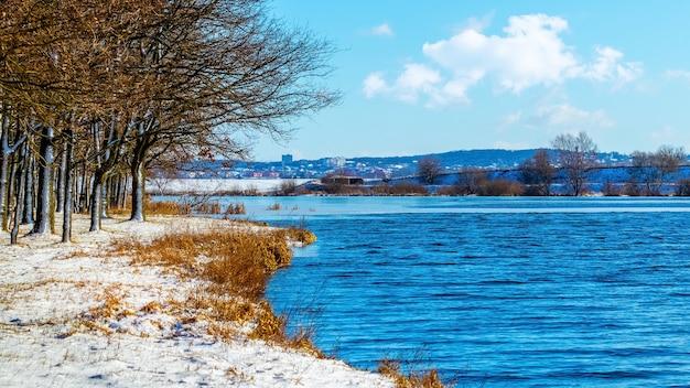 Paisagem de inverno com árvores à beira do rio em um dia ensolarado