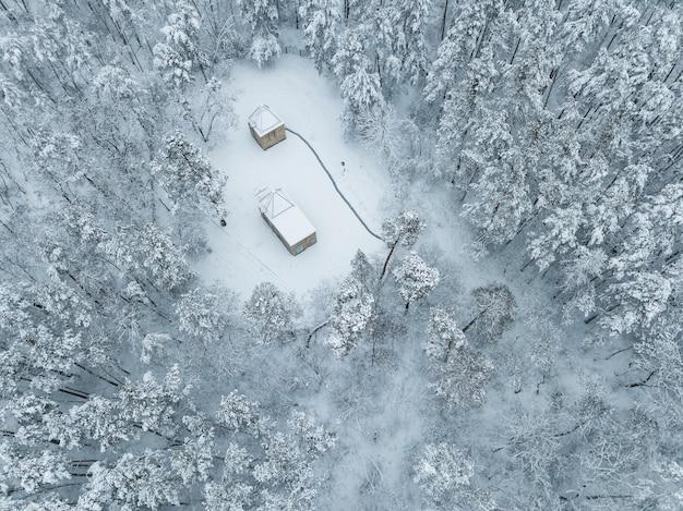Paisagem de inverno com casa na floresta árvores cobertas pela neve