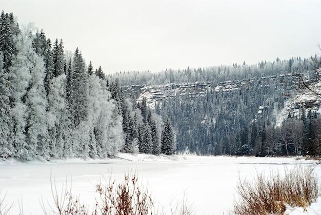 Paisagem de inverno com um rio de montanha congelado entre penhascos altos, coberto por floresta de coníferas