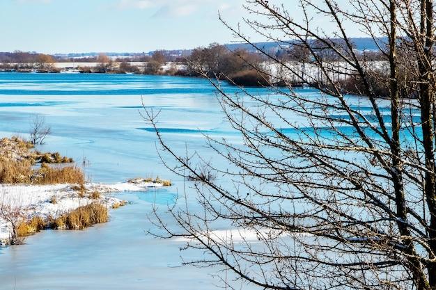 Paisagem de inverno com uma árvore na margem do rio