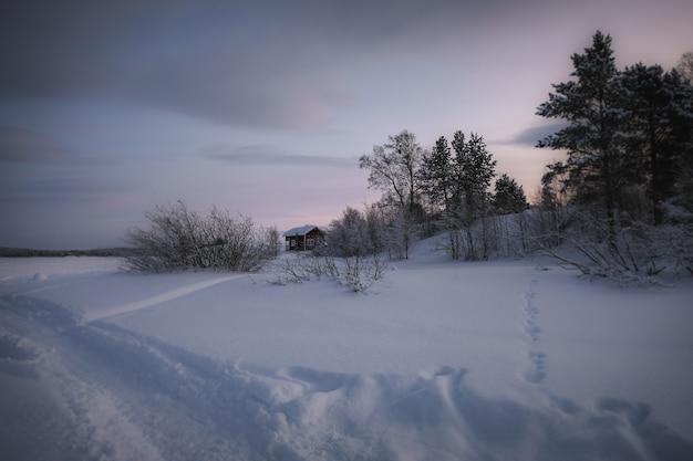 Paisagem de inverno com uma casa e uma passarela com pá