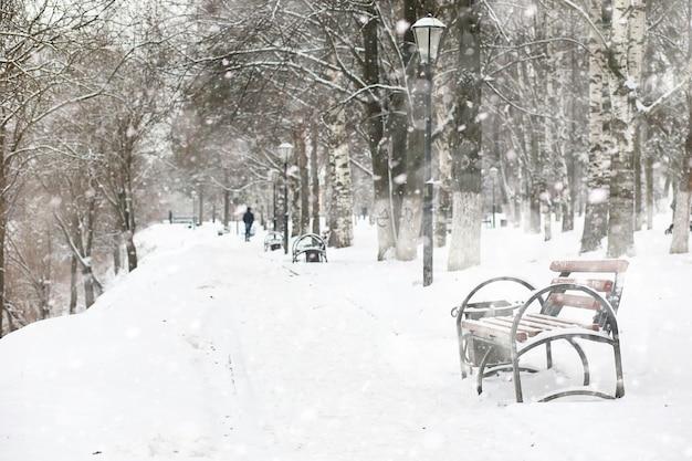 Paisagem de inverno de campos rurais e estradas na neve