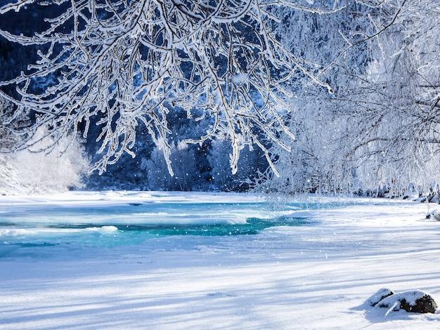Paisagem de inverno fabulosa no rio.