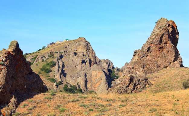 Paisagem de karadag (reserva no local do antigo vulcão extinto - crimeia, ucrânia)