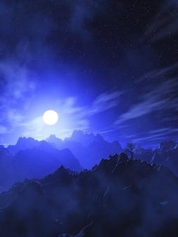 Paisagem de montanha 3d com céu iluminado pela lua