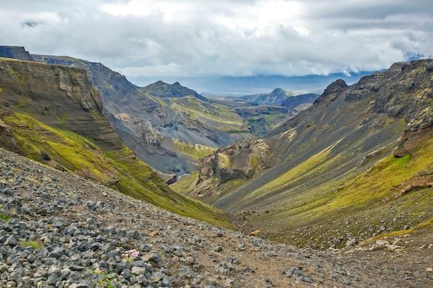 Paisagem de montanha bonita e colorida em landmannalaugar, islândia. maravilhosa paisagem natural
