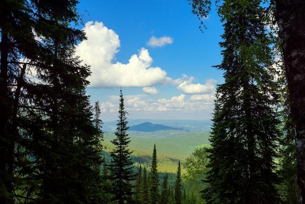 Paisagem de montanha deslumbrante em dia ensolarado de verão. vista das montanhas e colinas cobertas com floresta verde contra um céu azul e nuvens brancas.