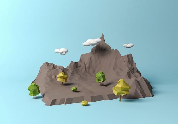 Paisagem de montanha pologonal dos desenhos animados, renderização em 3d