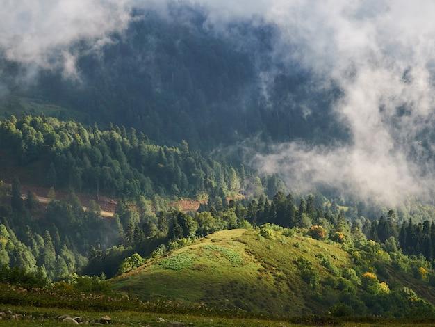 Paisagem de montanha, vale verde com colinas e nuvens.