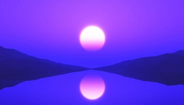 Paisagem de oceano tranquilo 3d com pôr do sol roxo