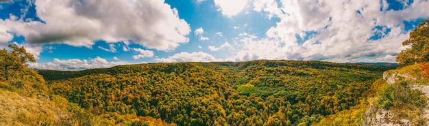 Paisagem de outono vista superior das folhas amareladas das árvores na floresta e céu azul nublado em um dia quente de outono ensolarado