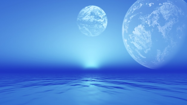 Paisagem de planetas fictícios sobre o oceano