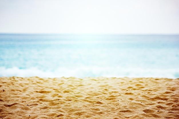 Paisagem de praia com close-up textura de areia