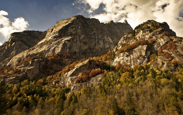 Paisagem de rochas cobertas de árvores sob a luz do sol e um céu nublado durante o pôr do sol