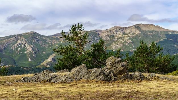 Paisagem de rochas com plantas verdes, céu dramático com nuvens e montanhas distantes.