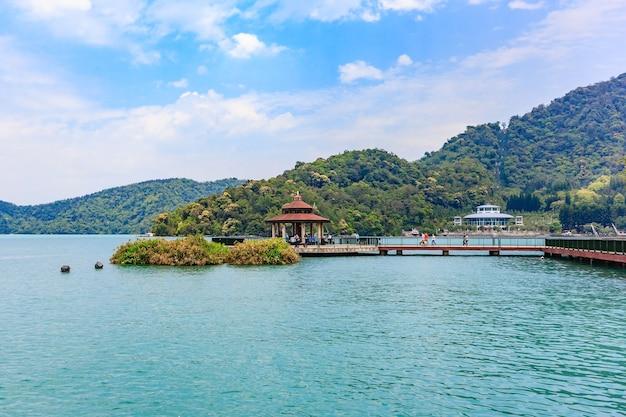 Paisagem, de, sun-moon, lago, em, nantou, taiwan