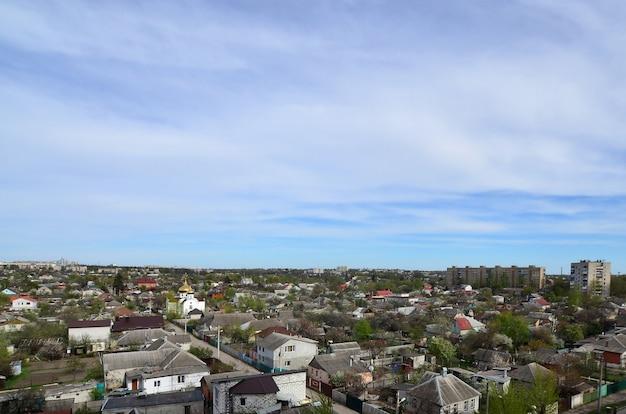 Paisagem, de, um, distrito industrial, em, a, kharkov, cidade, de, um, vista olho pássaro
