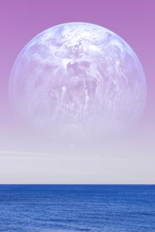 Paisagem de um planeta alienígena, um enorme planeta azul contra o céu rosa e as águas calmas do oceano