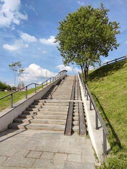 Paisagem de verão com escada que leva a uma ponte rodoviária