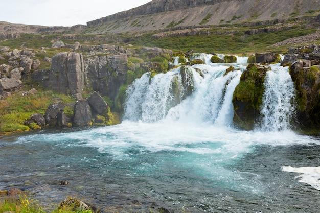 Paisagem de verão da islândia com uma bela cachoeira