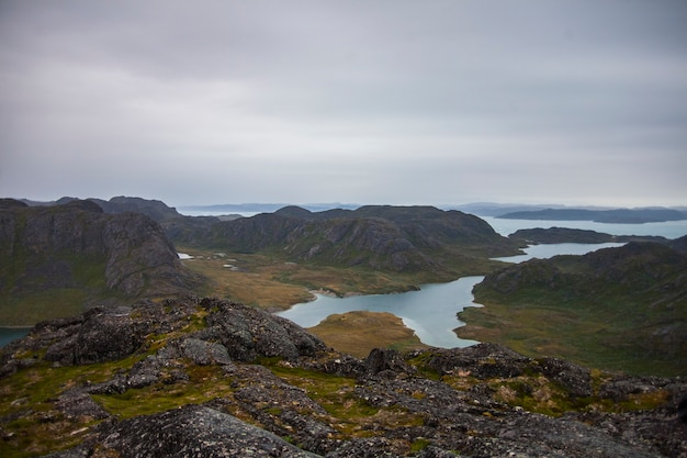 Paisagem de verão nos fiordes de narsaq, sudoeste da groenlândia