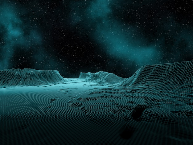 Paisagem digital 3d com céu e nebulosa do espaço