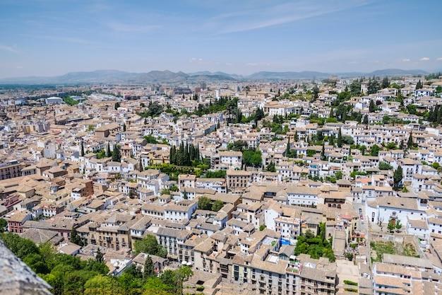 Paisagem do albayzin do palácio de alhambra. granada, espanha.