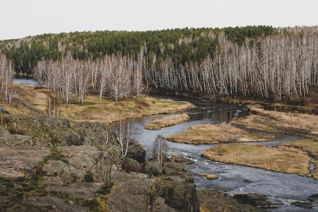 Paisagem do córrego do rio da montanha do outono. opinião do outono do rio da montanha. panorama do rio da montanha do outono.