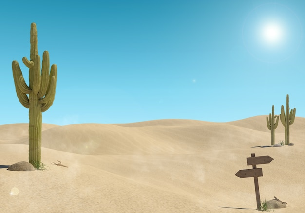 Paisagem do deserto de areia com cactos e sinal de madeira no fundo do céu azul