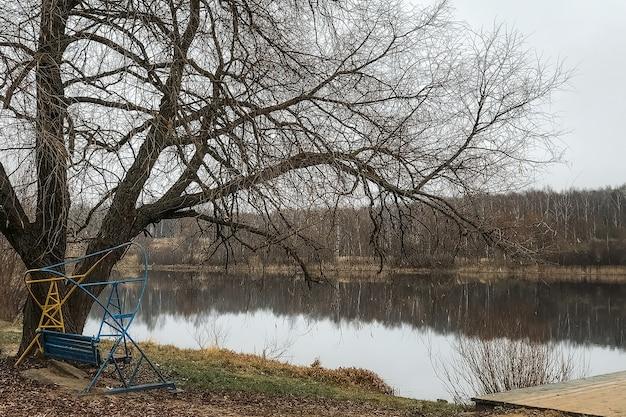 Paisagem do final do outono com balanços na margem do lago