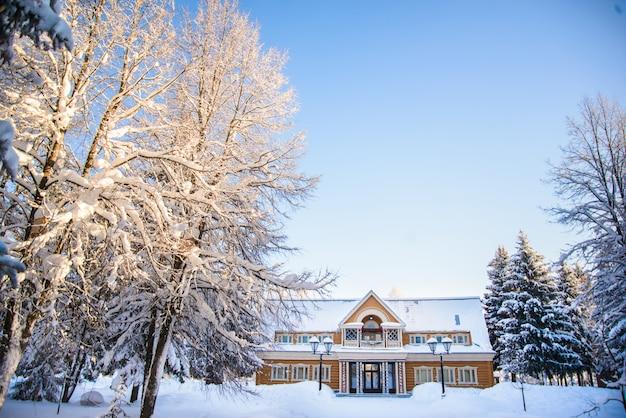 Paisagem do inverno com árvores e casa na neve