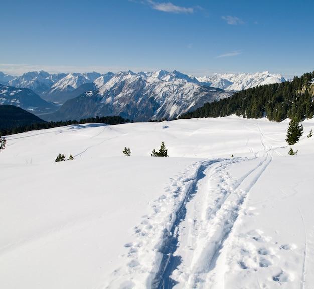 Paisagem do inverno com pistas de esqui