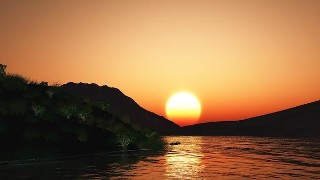 Paisagem do pôr do sol com colinas e lago