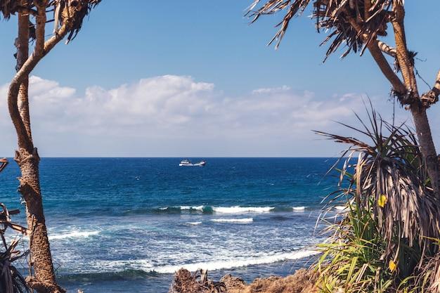 Paisagem emoldurada pelas árvores com um navio de pesca no mar, nusa dua, bali