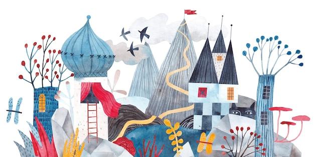 Paisagem fabulosa. castelo de fantasia nas montanhas, plantas exóticas, flores, cogumelos. ilustração em aquarela.