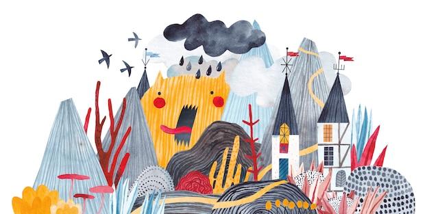Paisagem fabulosa. castelo de fantasia nas montanhas, plantas exóticas, flores, nuvens e um grande monstro. ilustração em aquarela.