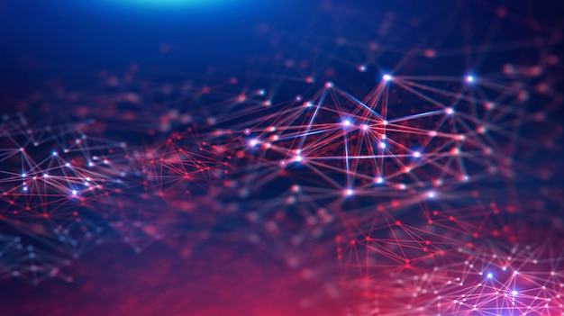 Paisagem geométrica e tecnologia fintech blockchain digital futurista.