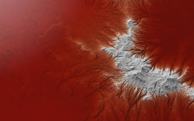 Paisagem gráfica, imagem casual da superfície da terra e conceito de água vermelha sobre o tema da poluição ambiental