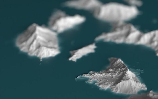 Paisagem gráfica, representação casual de ilhas no oceano