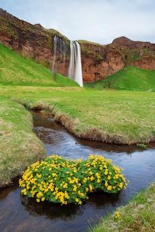Paisagem incrível com cachoeira na islândia